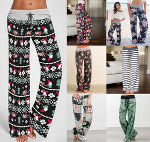 Kadınların Rahat Rahat pijama pantolon Çiçek Baskı İpli Palazzo Salonu Pantolon Geniş Bacak Kayışı gevşek kravat kamuflaj baskılı pantolon