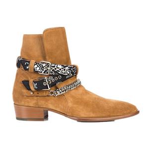 Man Fashion Show Wyatt Harness ковбойские сапоги бандану Slp замша Бандана ремень пряжка Ботильоны Kanye West SLP обувь