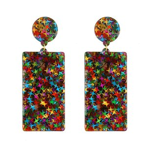 Fashion Geometric Rectangle Acrylic Acetic Resin Earrings Dangle Colorful Stars Ear Hook Eardrop For Women Designer Jewelry Gifts
