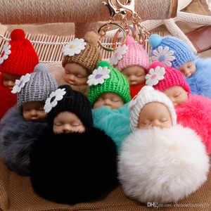 Fluffy Sleeping Baby Keychain 8cm Plush Ball Cute Doll Gold Metal Soft Ball Pom Key Chains Ring for Car Bag Fashion Boutique Accessories