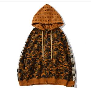 Moda Outono-Inverno Camo tubarão Hoodies Mulheres Homens Hip Hop Hoodie Sweater cores de personalidades do velo Zipper Hoodies