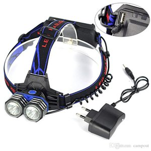 2-CREE XM-L T6 LED Bike Light Headlamp With USB 3*18650 Battery Pack 1000LM Bicycle Headlights 255g
