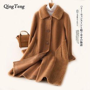 Teddy Coat Woman Long Woollen Otoño Invierno Teddy Bear Jacket Women Real Fur Furry Overcoat Warm Soft Designer Luxury Clothes