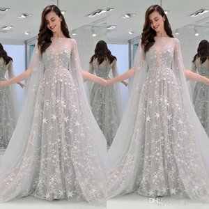 2019 Sparkly Prom Dresses Elegant Off Shoulder A Line Star Long Evening Desses With Wraps Girls Pageant Gowns