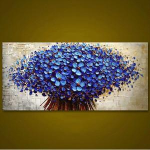 Abstract Knife 3D Flower Pictures Home Decor Wall Art Flores pintadas a mano Pintura al óleo sobre lienzo Pinturas florales azules hechas a mano