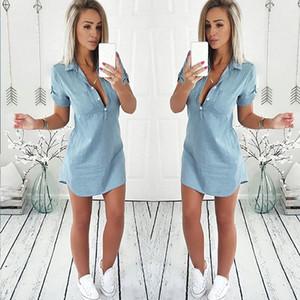 Mulheres verão solto casual denim dress manga curta decote em v profundo vestido de camisa 2019 venda quente moda sexy camisa dress
