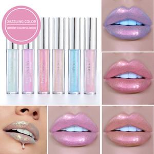 6 색 발광 색조 립글로스 레이저 홀로그램 글리터 액체 립스틱 젤리 피그 쉬머 립글로스 광채 립 스틱 HANDAIYAN 메이크업