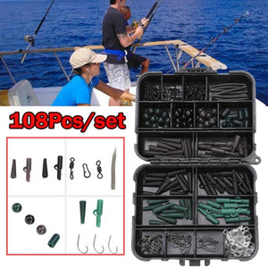 Carp Fishing Tackle Kit Box Baiting Strumenti girevoli Ganci maniche morbide Perle Tubi clip set di accessori