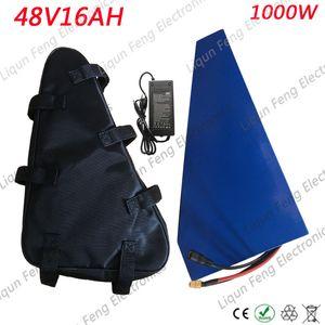 48V 1000W Batterie Pack 48V 15AH 16AH Dreieck Lithium Batterie Pack 48V 15AH Elektrische Fahrradbatterie mit 30A BMS + 54.6V 2A Ladegerät