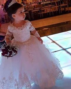 2019 Düğün Uzun Kollu Çiçek Kızların Elbiseleri Ekip Boyun Dantel Aplike Communion Elbiseler Uzun Kat Tül Boncuklu Pageant Parti Abiye