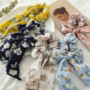 INS Bright Rose Floral Hair Scrunchies Women Accessories Hair Bands Ties Ponytail Holder Rubber Rope Decoration Long Bowknot BFJ657
