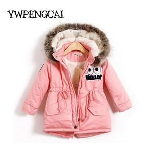 Sonbahar Kış Çocuk Kız Kız Açık Coats 2-8 yaşında T190921 Dolum Kürk Hat Çocuk Parkas% 90 Pamuk ile Sıcak Kalın ceketler