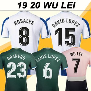 19 20 RCD Espanyol WU LEI Erkek Futbol Formalar DAVID LOPEZ ALEX LOPEZ Deplasman Futbol Gömlek B. Iglesias Kısa Camisetas de futbol