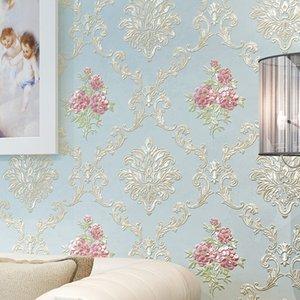 Европейский Дамаск спальня теплый большой цветок обои самоклеющиеся 3d телевизор фоне стены гостиной дома обои утолщенной