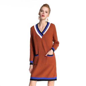 Pop2019 E Camisola Mulher Europeia Terno-vestido Hit Color Long Fundo V Chumbo Tricô Vestido Fábrica