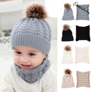 Autumn Toddler Boy Girl Cap Fur Pom Hat Winter Warm Knit Bobble Beanie Cap Scarf Soft Material Fashion Newborn Baby Hat