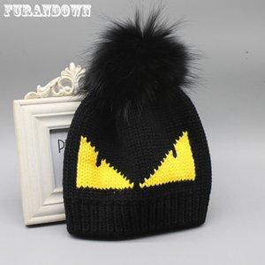FURANDOWN женская зимняя шапка мода Марка меховой помпон шляпа шапка Дьявол шаблон трикотажные шапочки для дамы MX191130