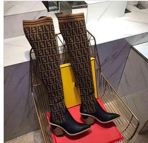 Мода люкс DesignerWomen обувь DesignerLuxury ботинки женщин 2019 новых суперзвезды женщин тавр высоких сапог носок обувь