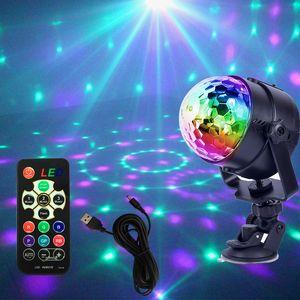 Döner Disko Topu LED Parti Işıkları 5 V USB Şarj Ses Aktif Strobe Işık Noel LED DJ Evreleme Aydınlatma Etkisi Araba Dekorasyon için