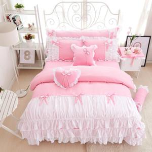3/4 adet pamuk pembe prenses yatak seti dantel kenar katı pembe ve beyaz renk ikiz kraliçe kral yatak seti nevresim yatak etek