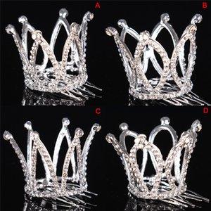 Mädchen-Kind-nette Kristall Prinzessin Party-Kronen-Tiara-Haar-Pin-Klipp-Haar-Zusatz-Silber überzogene Frauen Accessoires Hochzeit