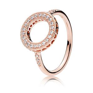 Auténticos juegos de anillos de bodas de corazones de plata esterlina 925 Caja original para Pandora 18K Rose Gold Halo Ring