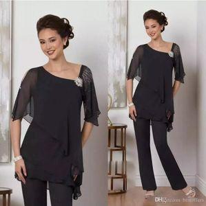Gelin Pant Of Şık Siyah İki adet Anne Yarım Kollu Boncuklu Gelinlik Misafir Elbise Şifon Artı boyutu Resmi Elbise ile Suits