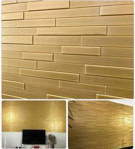 Moderne 3D gaufrée or brillant brique Papier peint mariage Salon Salle à manger Chambre Backdrop Mode Wallpaper Home Decor Autocollants