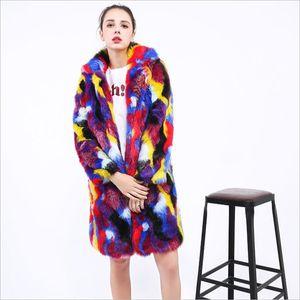 Diseñador de las mujeres Faux Fur Overcoat Street Style Contract Color para mujer con capucha abrigo Hip Hop Donna Fur Coat