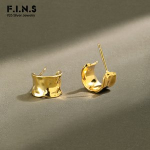 F.I.N.S Korean S925 Sterling Silver Earrings INS 2020 Irregular Glossy Uneven Surface Wide Stud Earrings Fashion Fine Jewelry