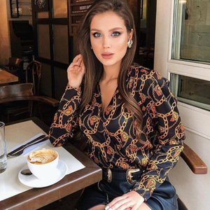 Sexy Deep V Neck Gold Chain Patern Blouse New Office Ladies Shirt Blouses Women Vintage Long Sleeve Tops Work Club Wear Blusa