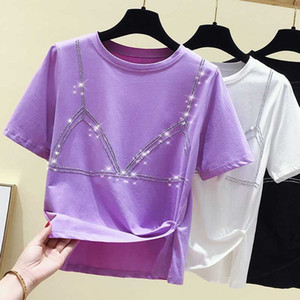 gkfnmt cultivos camiseta de la tapa del verano mujeres de la camiseta de Corea ropa casual Mujer Tops camiseta de manga corta de Kawaii Camiseta rebordear
