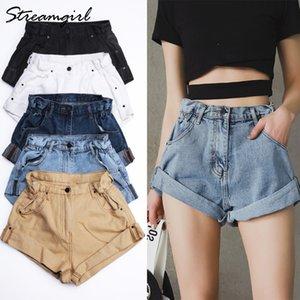Streamgirl Shorts de mezclilla blancos de cintura alta Mujeres Short Femme Khaki Wide Leg Elastic Waist Vintage Jeans Shorts Loose Women Summer Y19072001