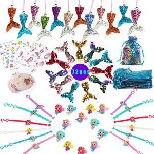 Mermaid-Partei-Bevorzugung Supplies Mermaid Armband / Ring / Halskette / Aufkleber / Geschenk-Beutel / Zubehör Kit Geschenke für Gäste / Mädchen