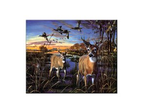Best Gift Home Wall Art Decor Animal Reindeer, Deer, White-tailed Deer, Wild Ducks, Hunting, Oil Painting Pictures Printed on Canvas