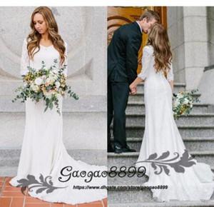 Vintage bescheidenen Brautkleider mit langen Ärmeln böhmischen voller Spitze Meerjungfrau Brautkleider 2019 Land Brautkleider abiti da sposa