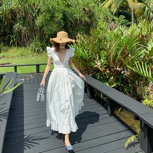 Les femmes sexy maxi robe fendue partie solide blanc haute robes dos nu club jabot cou V profond taille plage vacances robe d'été