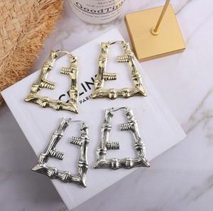 Avrupa ve Amerikan altın ve gümüş 2 renk bambu küpe abartılı net kırmızı büyük bir daire serin hip-hop Earrings Retro üçgen alfabe e