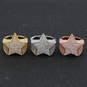 Rame Gold Gold Rosegold Colore Placcato Colore Placcato Alta Qualità CZ Stone Star Shape Hip Hop Jewerly Anelli da uomo Aumento di diamanti con diamanti