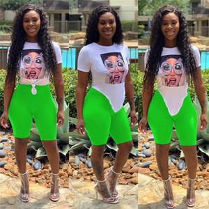 Asymmetric Length Women 2Pcs Short Set Fashion Tops With Photo Casual Womens Clothing