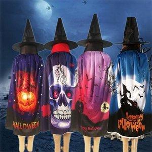 Festival de Capa de Halloween Cos Play Prop Manta Hombre Mujer Esqueleto Humano Murciélago Calabaza Patrón Capas Venta Caliente 9 5yn L1