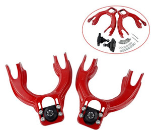 FOR HONDA CIVIC EG 92-95 INTEGRA FRONT UPPER CONTROL ARM TUBE CAMBER KIT + 92-00 Adjustable Rear Camber Arms RED