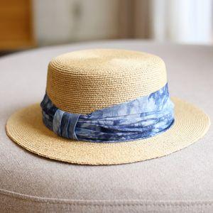 Japanese tie-dye raffia Raffia Straw hat Summer Sun Visor Hats For Women Lady Fashion Flat top Wide Brim Panama Beach Hat