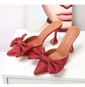 Crystal Bowtie Women Slippers Cup High Heels Party Shoes Woman Pointy Toe Green Ladies Shoes Diamond Zapatos De Mujer