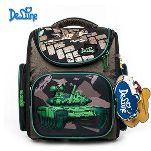 2019 Nueva Marca Delune chicos camuflaje del bolso de escuela 3D Tank Wars Patrón impermeable Ortopédica Mochila Mochila Infantil escolar K6112