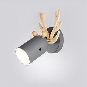 Nordic Macaron madera ciervos lámpara de pared Led Lámparas de pared de la lámpara de cabecera moderna astas Cuerpo de iluminación Inicio Art Deco luminaria E27