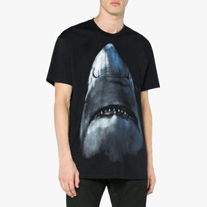 19SS GIV French T-shirt Shark Print Fashion Men Women Couple Short Sleeve Top Quality Summer Street Hip Hop Tee HFYMTX403