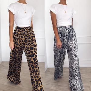 Sexy Mulheres largas calças calças de pernas Moda Leopard Snack impressão alta cintura solta Calças Primavera-Verão senhoras Mulheres CapROS