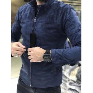 Brasão Dropshipping New Inverno Suede Slim Fit jaquetas dos homens Quente Casual Outwear Jacket Men Quente Brasão Pea sólida Tamanho M-3XL