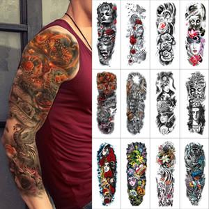 Черный Временные татуировки наклейки Полное оружие вспышки Татуировки Рукав Акварели Цветы Лица Тигры Поддельные татуировки для мужчин и женщин